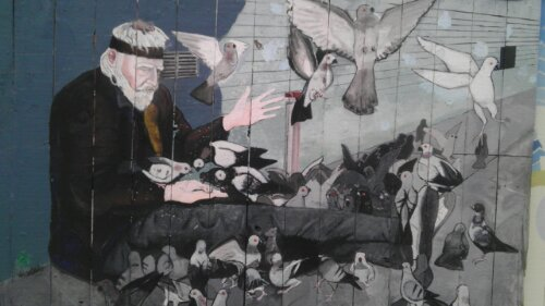 John 'Swan' Ratliff Homeless man feeding pigeons painting mission district san francisco
