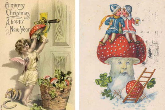Vinatage holiday cards amanita mushroom