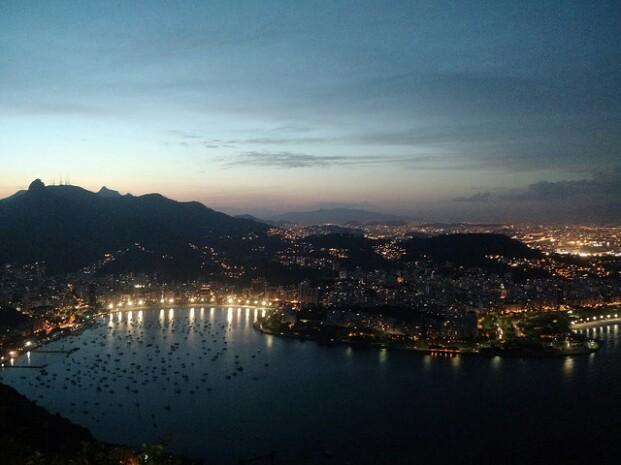 View of Rio de Janeiro by Night. View from Pao de Azucar.