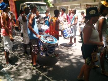 Batucada holding surdos during Carnival in Rio de Janeiro