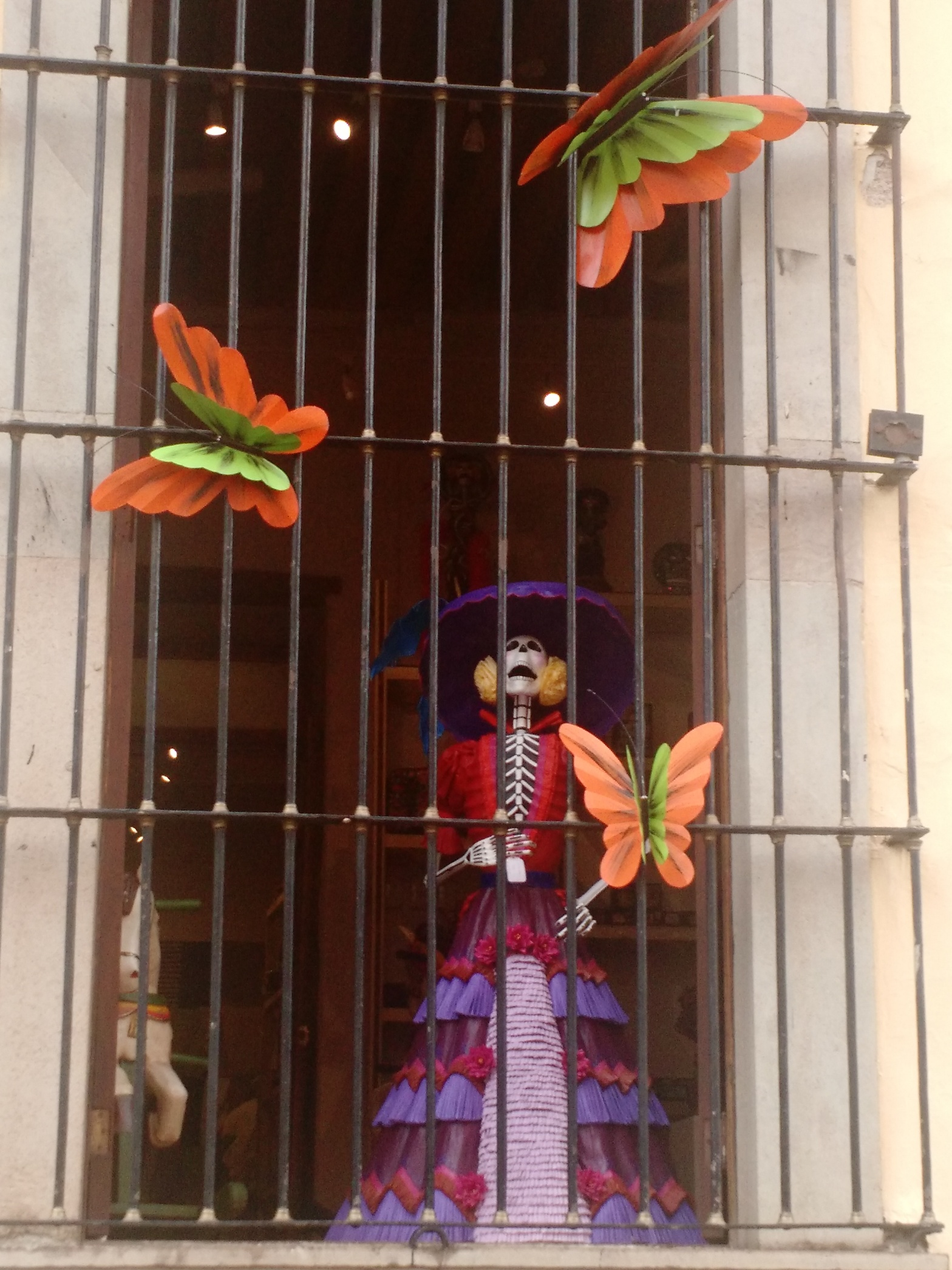 Skeleton art in doorway Guanajuato Mexico